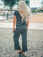 wiccous.com Jumpsuits Green / S Striped Halter Jumpsuit