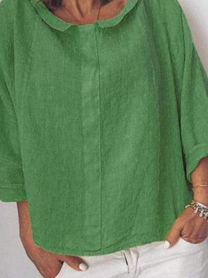 wiccous.com Plus Size Tops Green / L Plus Size Linen Lapel Long Sleeve Shirt