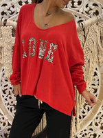 wiccous.com T-Shirts,Plus Size Tops Red / S Women's LOVE Print Long Sleeve Tops