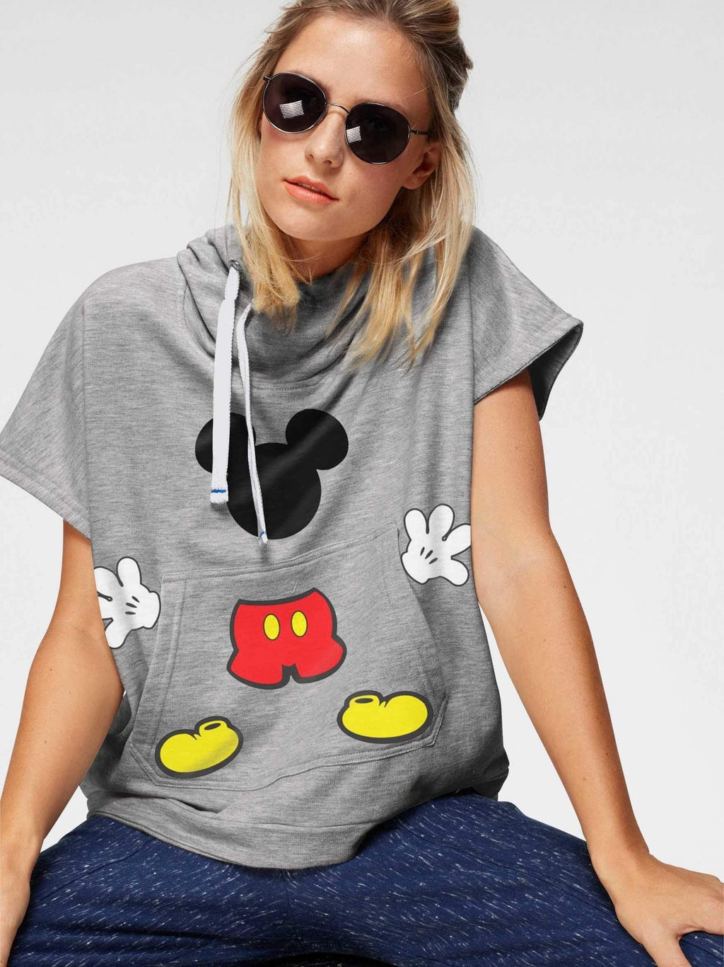 Mickey Mouse WITH CAP Short Sleeve Hoodie T-shirt