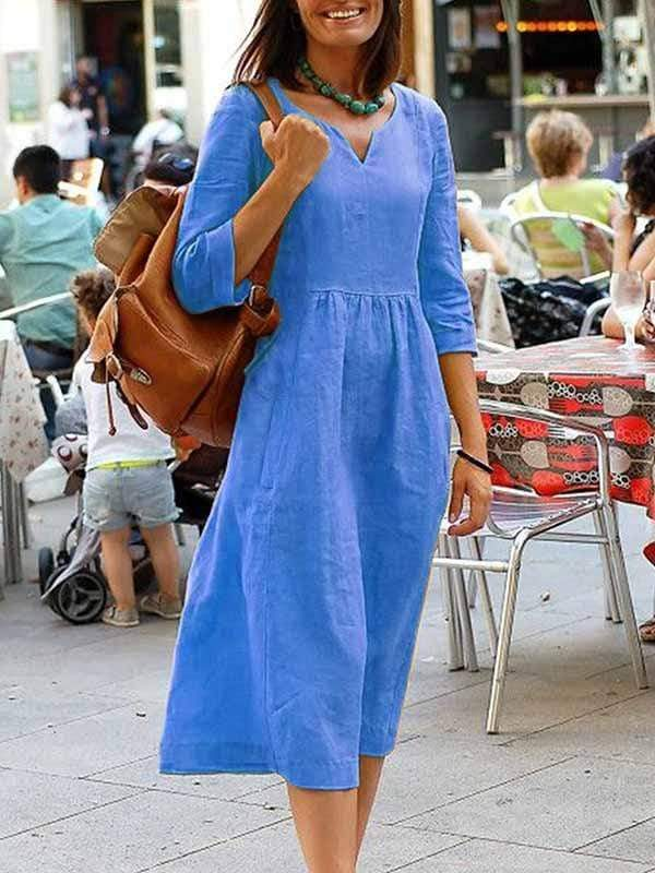 wiccous.com Plus Size Dress M / Blue Cotton linen dress