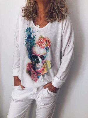 wiccous.com Plus Size Tops Skull Print Long Sleeve Top