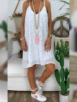 wiccous.com Plus Size Dress White / L Plus size V-neck sling lace dress