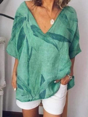 wiccous.com Plus Size Tops Green / L Plus size printed V-neck shirt