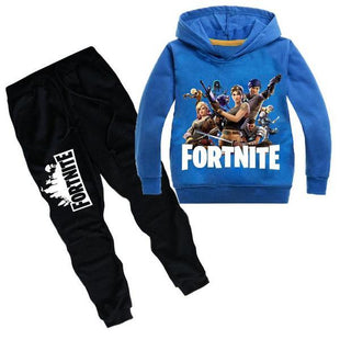 Fortnite Druck Winter Langarm Kapuzenpullover Sweatshirt & Hose Set für Kinder
