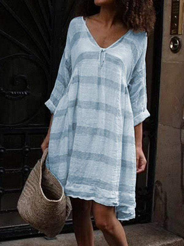 wiccous.com Plus Size Dress Light Blue / L Plus size striped long sleeve V-neck dress