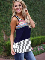wiccous.com Tanks White / S Printed Striped Stitching Vest