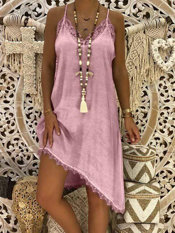 wiccous.com Plus Size Dress Pink / L Plus size Lace Strap Dress