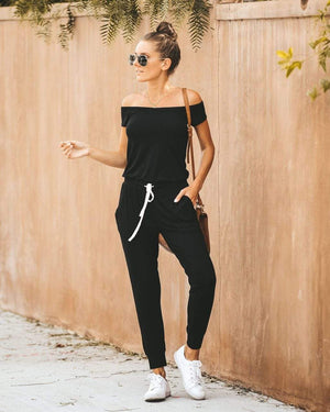 wiccous.com Bottoms Black / S Drawstring Boat Neck Jumpsuit With Pocketed