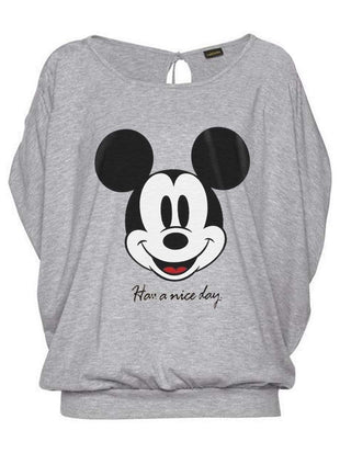 Mickey Mouse Hollow Out Bat Sleeve T-shirt