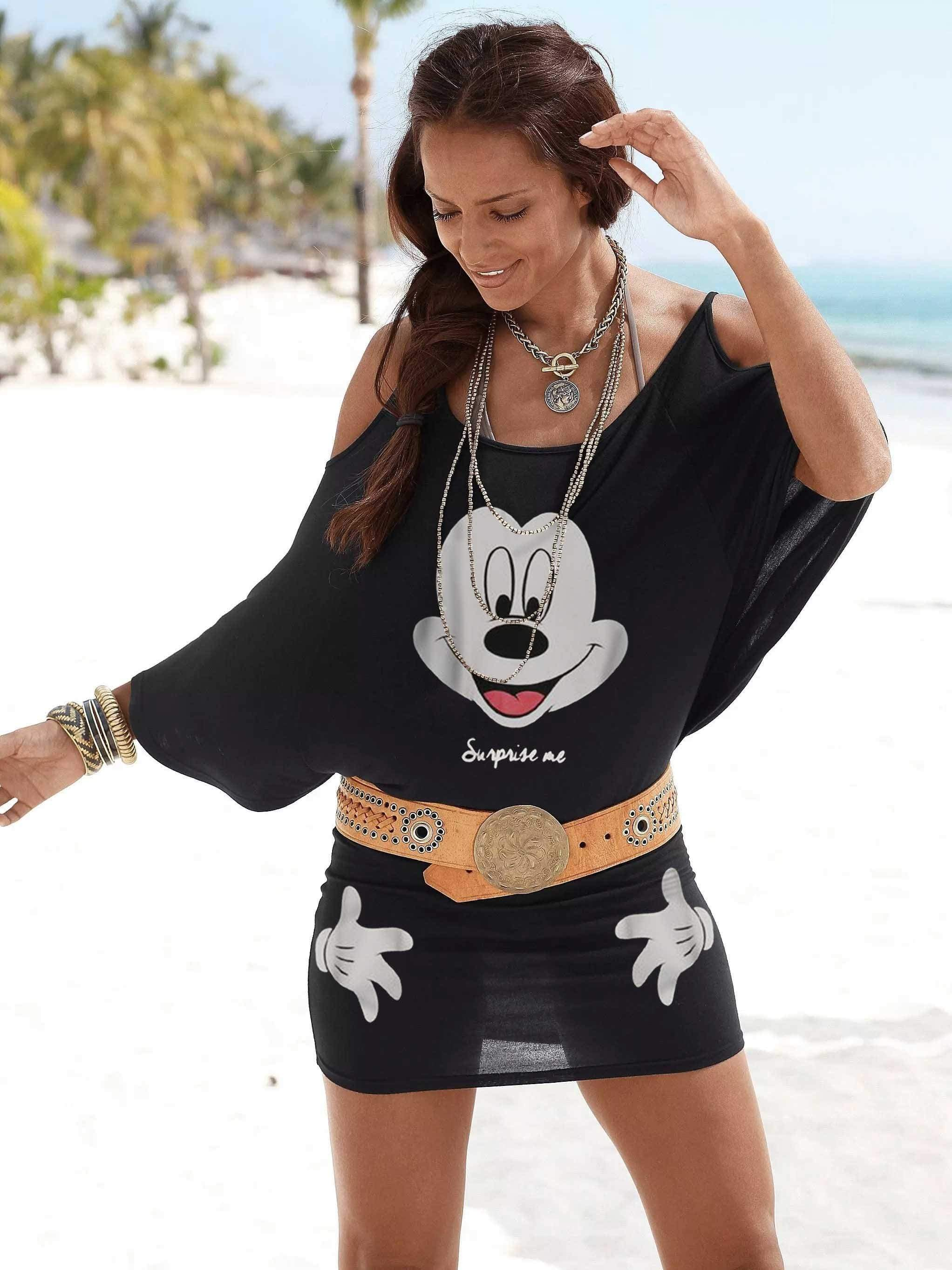 Mickey Mouse Bat Sleeve Package Buttocks DRESS