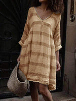 wiccous.com Plus Size Dress Khaki / L Plus size striped long sleeve V-neck dress