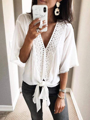 wiccous.com Blouses White / S Lace Splicing Ties Blouses