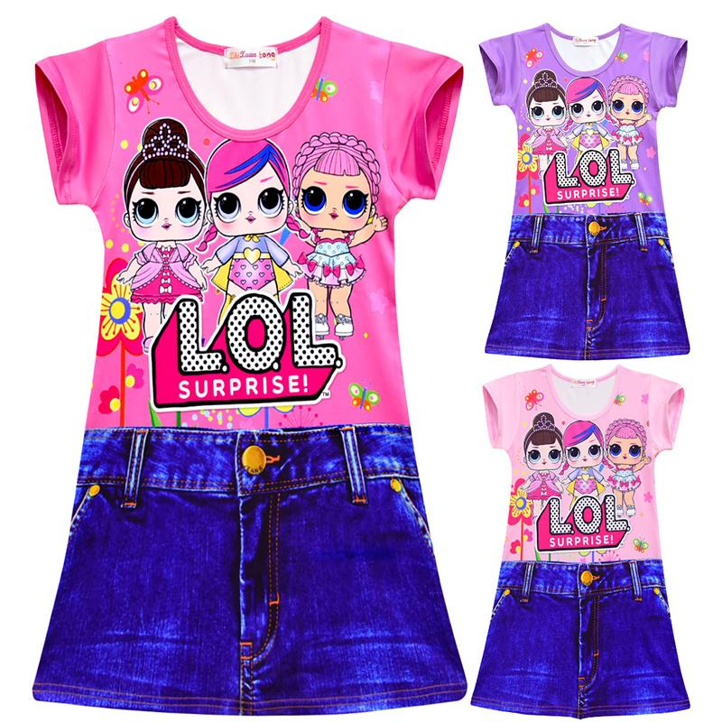 L.O.L Surprise! Dolls Pattern Print Girls Imitation Jean Dress