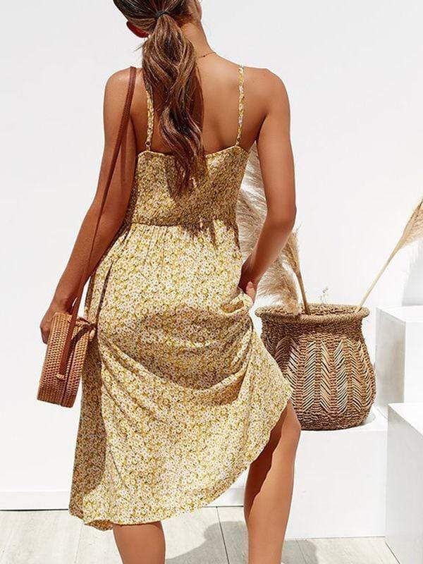 wiccous.com maxi dress Yellow Flowers / S Straps Button Cottage Hill Dress With Pocket