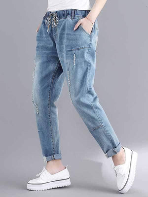 wiccous.com Plus Size Bottoms Wathet / 3XL Plus size hole jeans