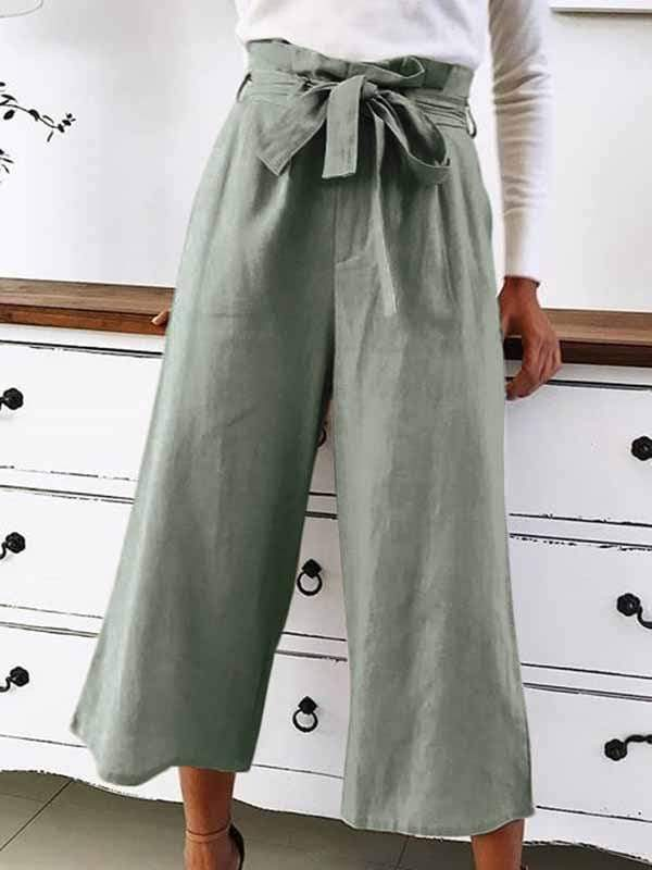 wiccous.com Plus Size Bottoms Army Green / S Casual Wide Leg Pants