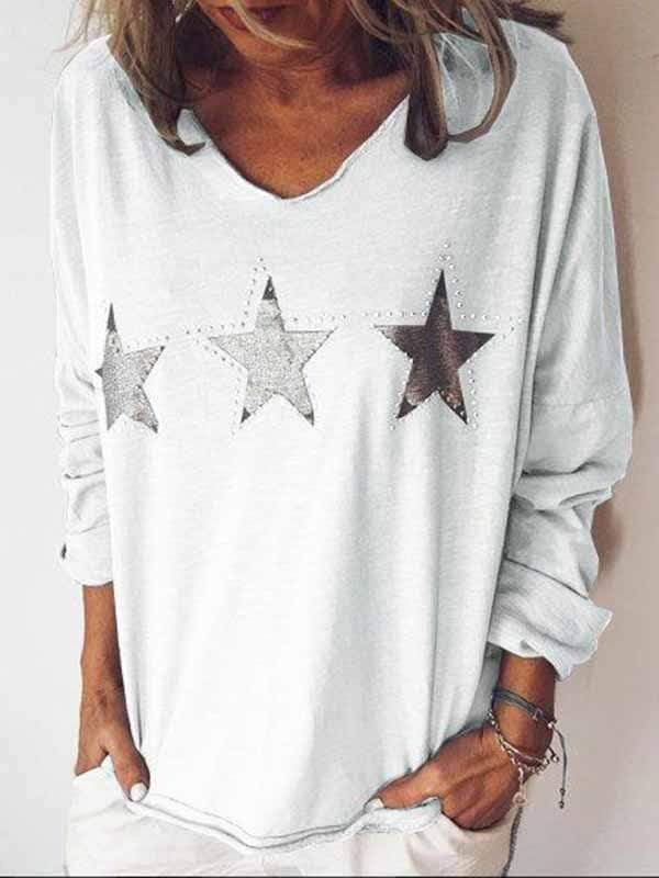 wiccous.com Plus Size Tops White / S Star Print Long Sleeve Top