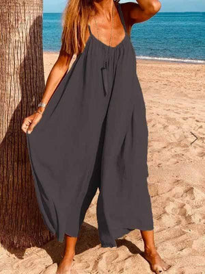 wiccous.com Plus Size Bottoms Dark Gray / L Strap cotton linen jumpsuit
