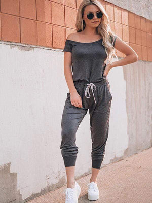 wiccous.com Jumpsuits Dark Grey / S Cold Shoulder Jumpisuit With Pocketed