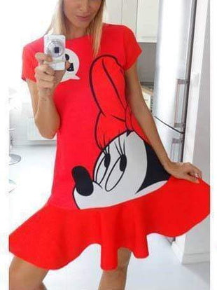 Mickey Mouse printing  red mini-dress