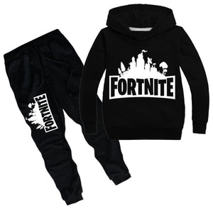 Fortnite Print Long Sleeve Hooded Sweatshirt and Pants Set For Kids