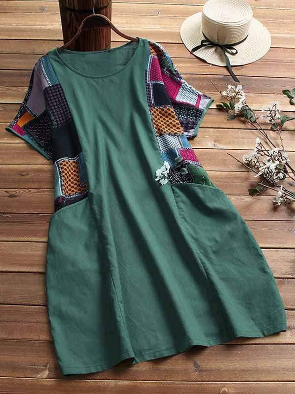 wiccous.com Plus Size Dress Green / L Plus size cotton linen stitching dress