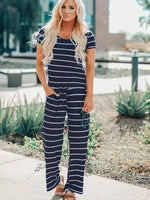wiccous.com Jumpsuits sea / S Striped Halter Jumpsuit