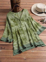 wiccous.com Plus Size Tops Green / L Plus size lace v-neck half-sleeve chiffon shirt
