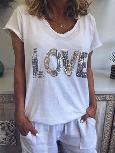 wiccous.com Plus Size Tops White / L Sequined LOVE Print T-Shirt