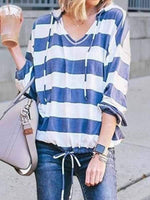 wiccous.com Plus Size Tops Blue / S Loose V-Neck Long Sleeve Striped Hooded Top