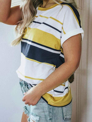 wiccous.com T-shirts Yellow / S Stripe Colorblock Ringer T-shirts