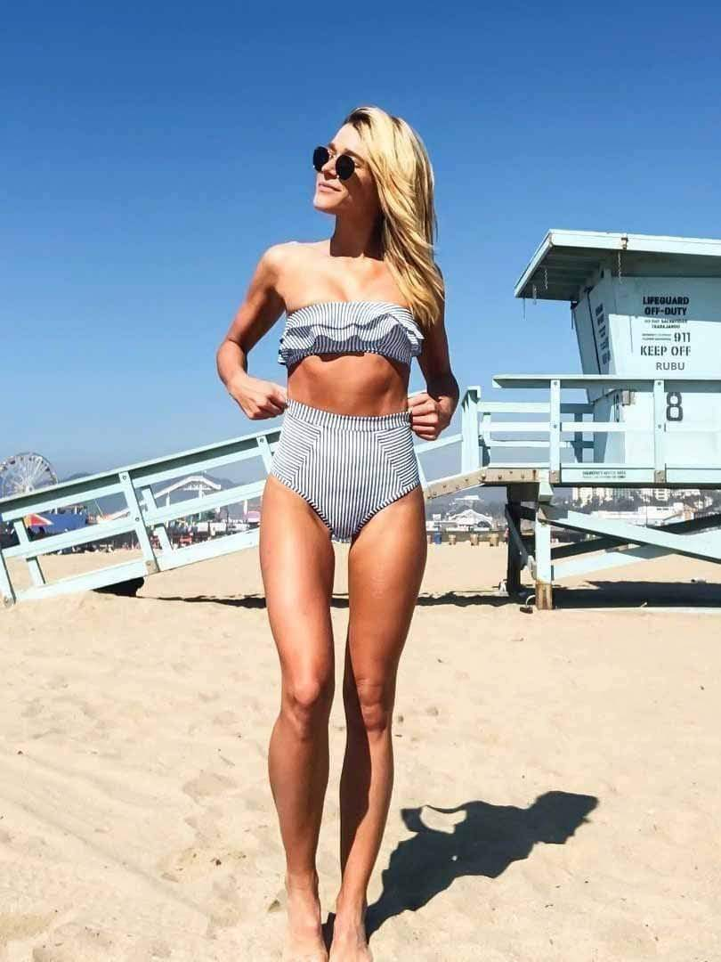 Solid Stripe Ruffle High Waist Bikini Set