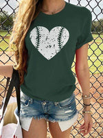 wiccous.com T-shirts Army Green / S Heart Design Baseball T-shirts