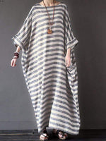 wiccous.com Plus Size Dress Stripe / L Plus Size Cotton Linen Striped Dress