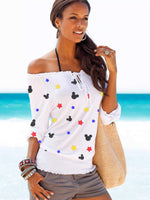 Mickey Mouse Star Off-The-Shoulder Beach Shirt