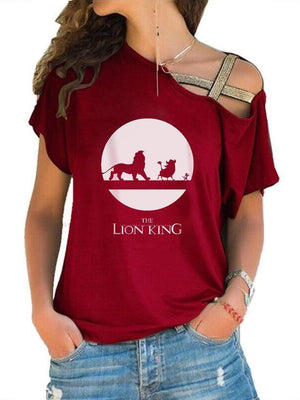 The Lion King Printed Off-The-Shoulder T-shirt