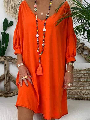 wiccous.com Plus Size Dress Orange / L Plus size solid color cropped sleeve dress