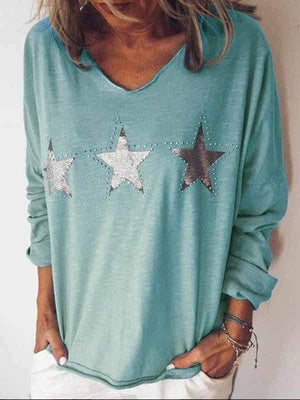 wiccous.com Plus Size Tops Peacock blue / S Star Print Long Sleeve Top