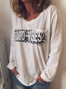 wiccous.com Plus Size Tops White / L Large Size GOOD-VIBES Printed Long Sleeves