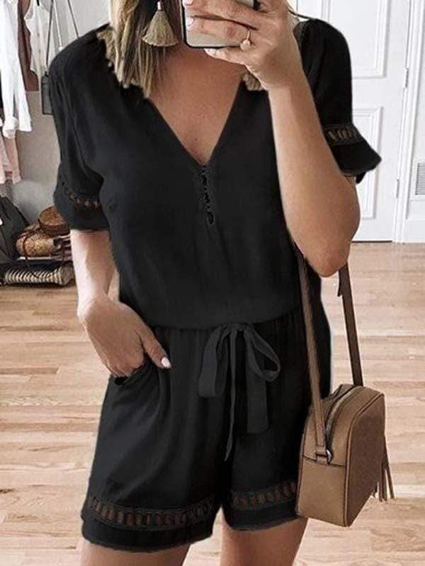 wiccous.com Plus Size Bottoms Black / L Plus size lace stitching jumpsuit