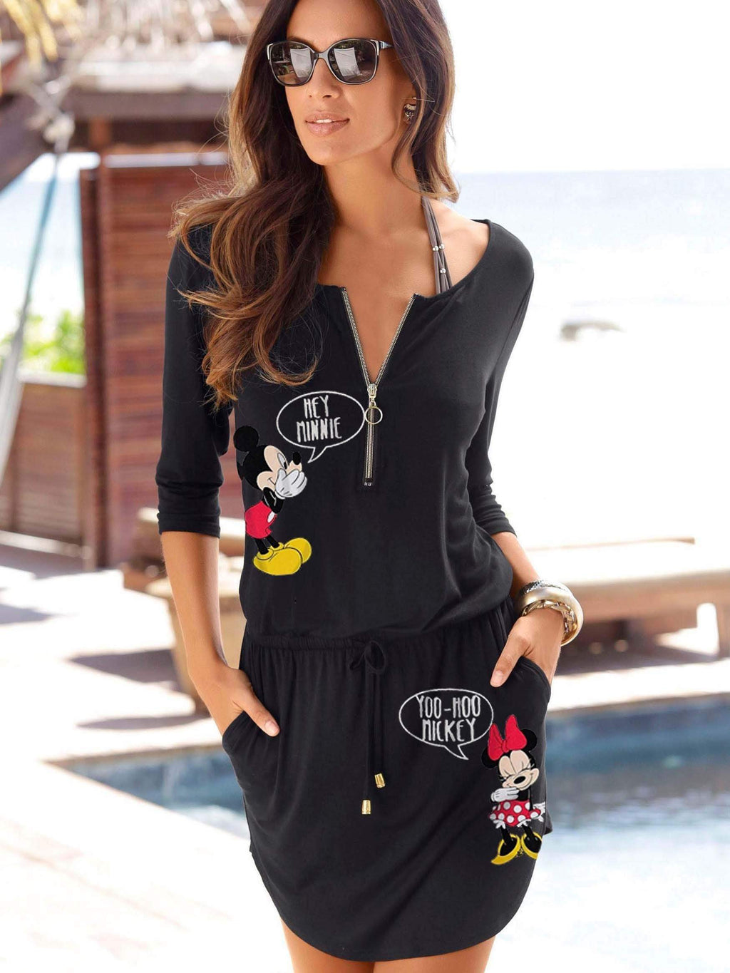 Mickey Mouse Zipper Mini-Dress