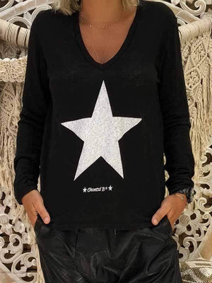 wiccous.com Plus Size Tops White / S Star Print Long Sleeve V-neck Sweatshirt