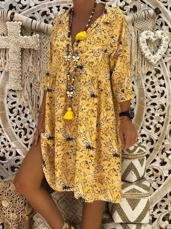 wiccous.com Plus Size Dress Yellow / L Plus Size Casual Print Dress