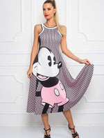 Mickey vertical bar sleeveless dress