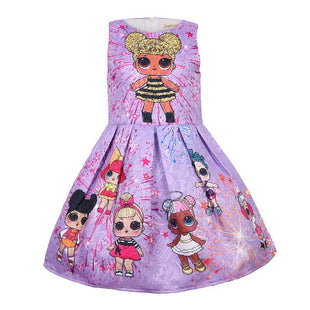 Pretty Girls L.O.L Surprise! Cartoon Pattern Print Sleeveless Dress