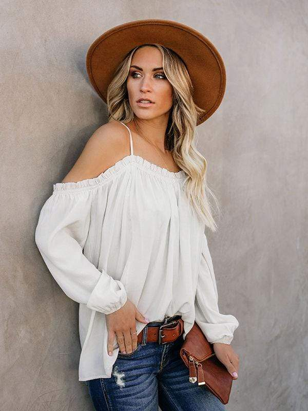wiccous.com Blouses White / S Cold Shoulder Strap Solid Color Blouses