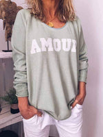 wiccous.com Plus Size Tops,T-Shirts Light Green / S AMOUR Letter Print Long Sleeve tops