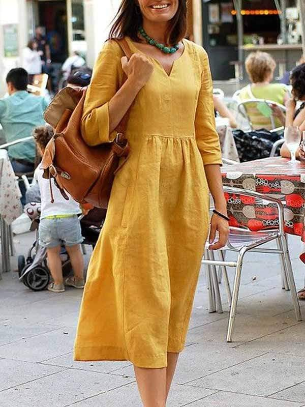 wiccous.com Plus Size Dress M / mustard Cotton linen dress