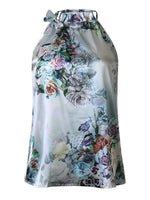 wiccous.com Tanks Green / S Floral Printed Cold Shoulder Tanks